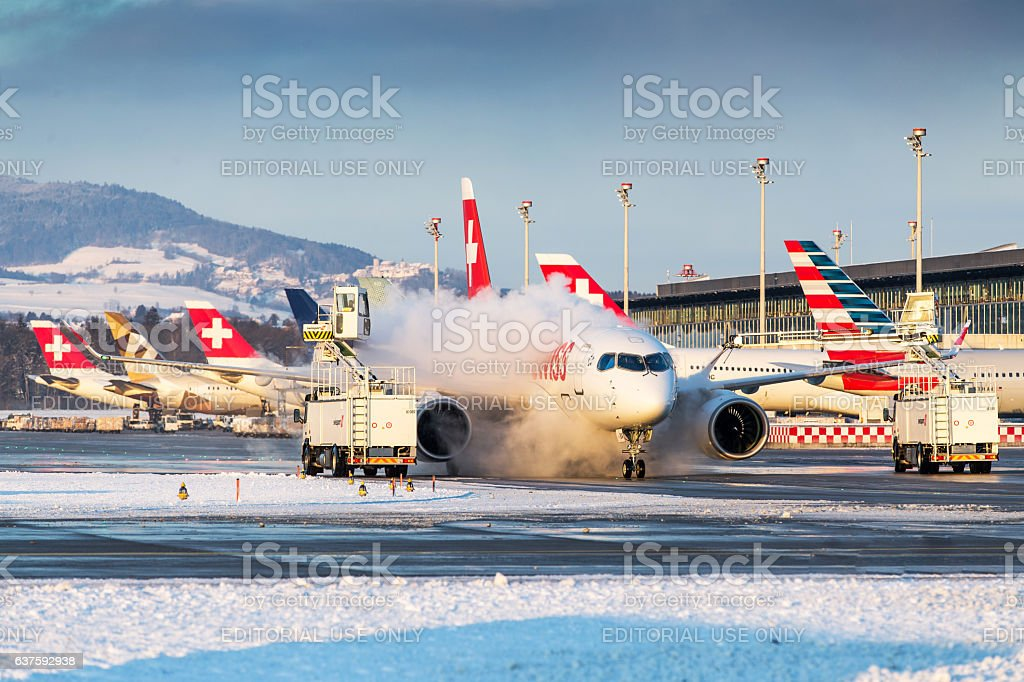 Winter operations at Zurich Airport stock photo
