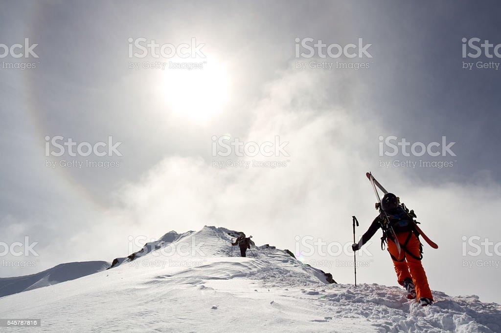 Winter outdoor adventure stock photo
