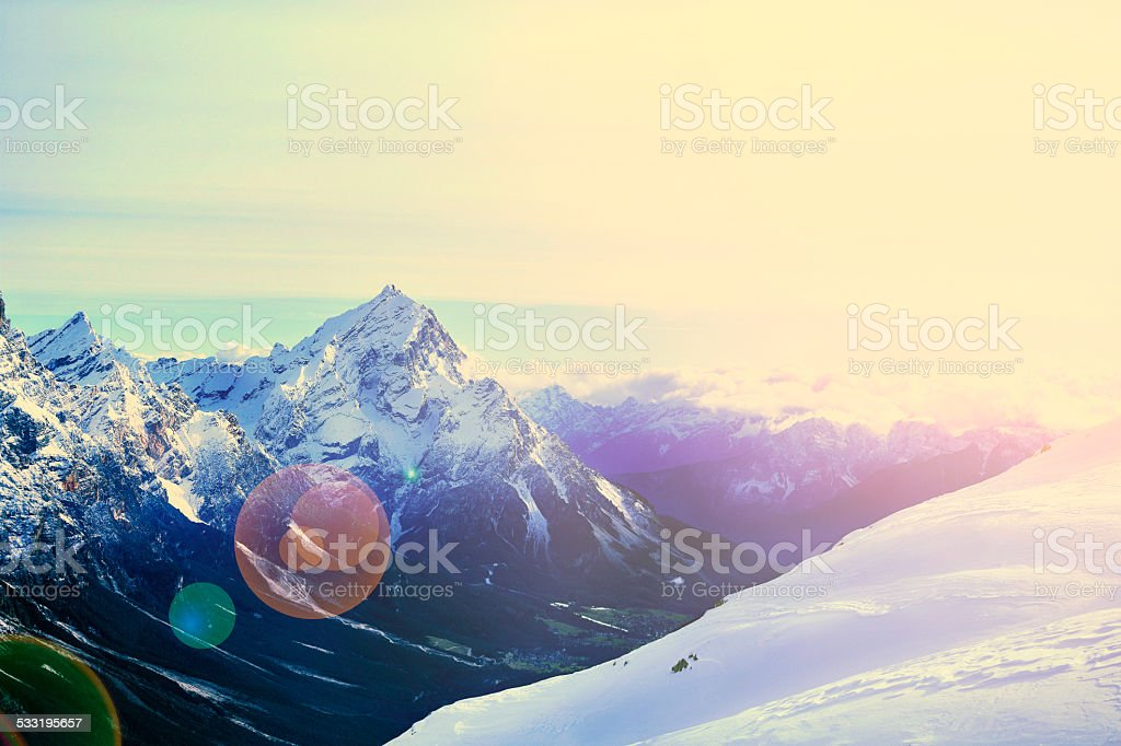 Winter Panorama    Alps Mountains Snowy Landscape  Cortina d'Ampezzo Italy  Sunset stock photo