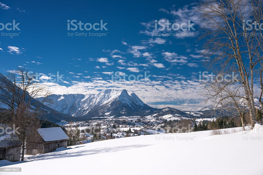 Winter Panorama, Austrian Alps stock photo