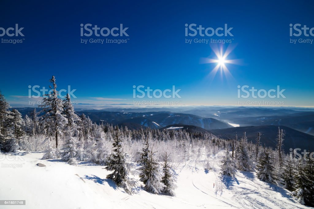 Winter panorama in Beskydy stock photo