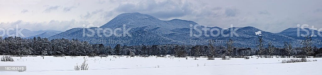 Winter Panorama of Barje valley with highest hill Krim stock photo