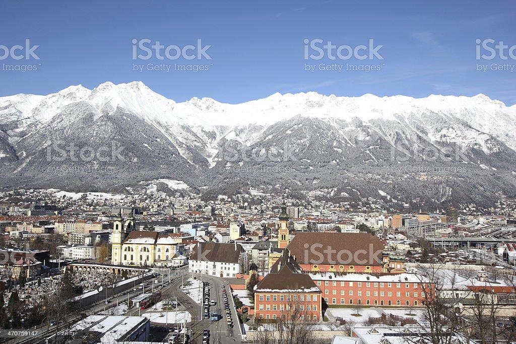 Winter Panorama of Innsbruck, Inntal and Nordkette, Tyrol, Austria stock photo