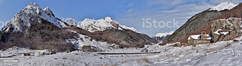 Winter Panorama of Valley Ossau in French Pyrenees stock photo