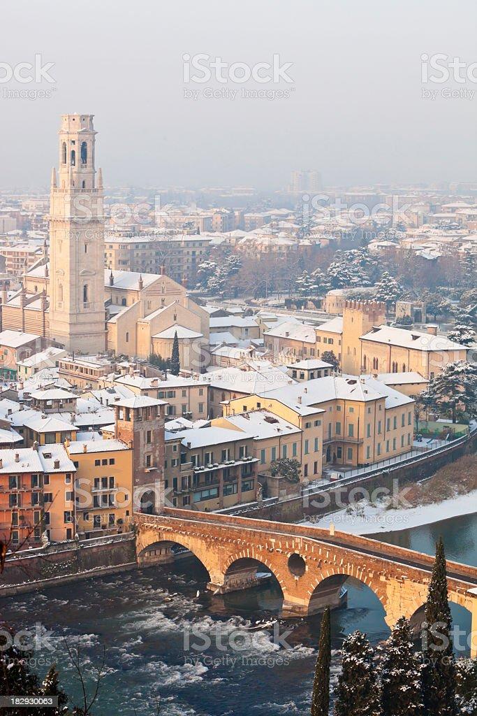 Winter Panorama on Verona stock photo