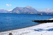 Winter panorama Stresa at Lake Maggiore, Piedmont Italy