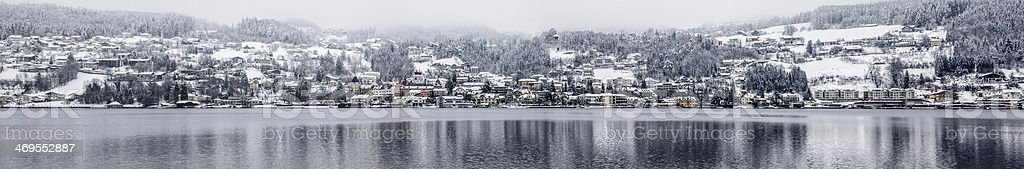 Winter Panorama View On Millstatt From Southside Of The Lake stock photo