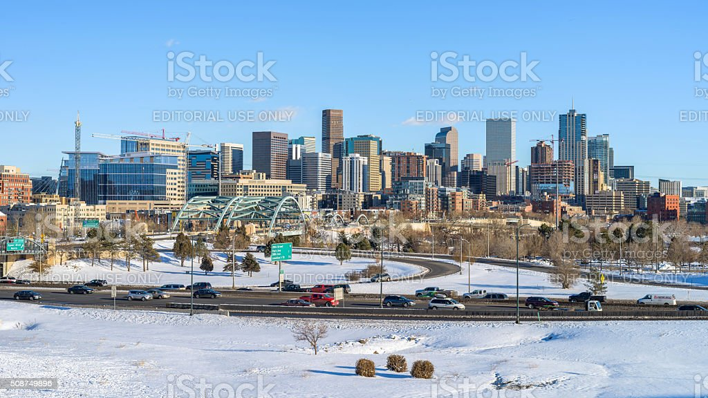 Winter Panoramic View Of Downtown Denver stock photo