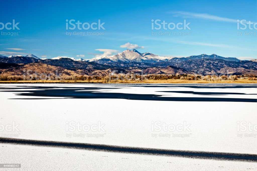 Winter Panoramic View of Longs Peak in Longmont, Colorado stock photo
