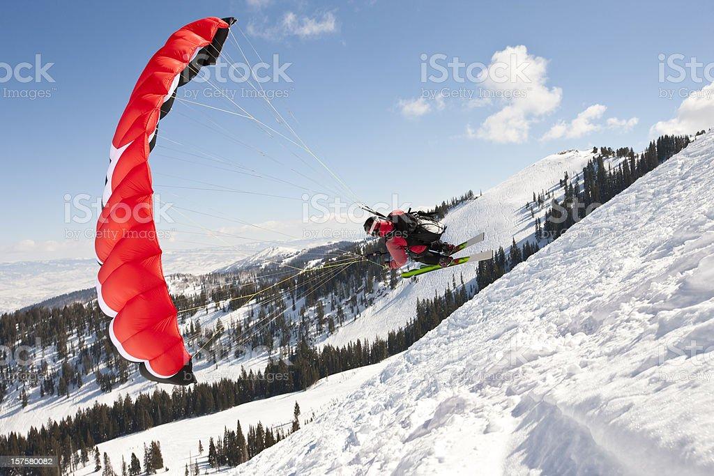 Winter Parachuting stock photo