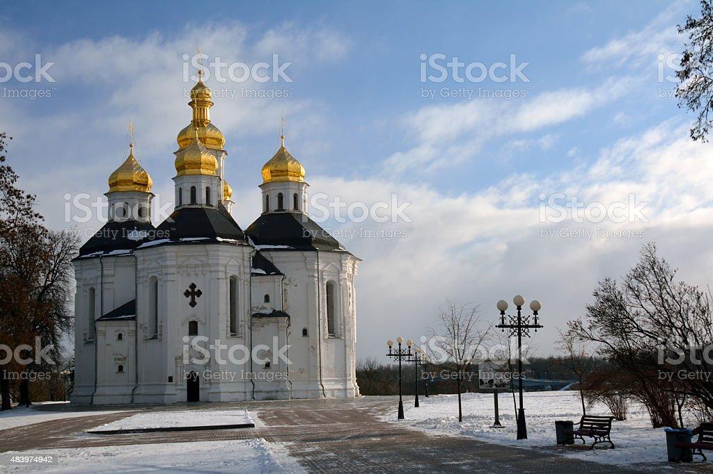 Winter park in Chernihiv, Ukraine, with St, Catherine church stock photo