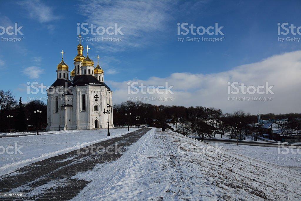 winter park in Chernihiv with Catherine church stock photo