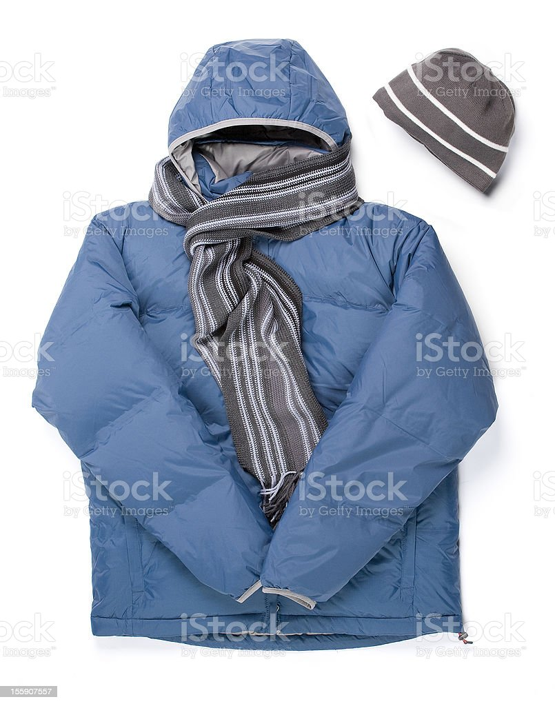 Winter Parka, Scarf and Cap royalty-free stock photo