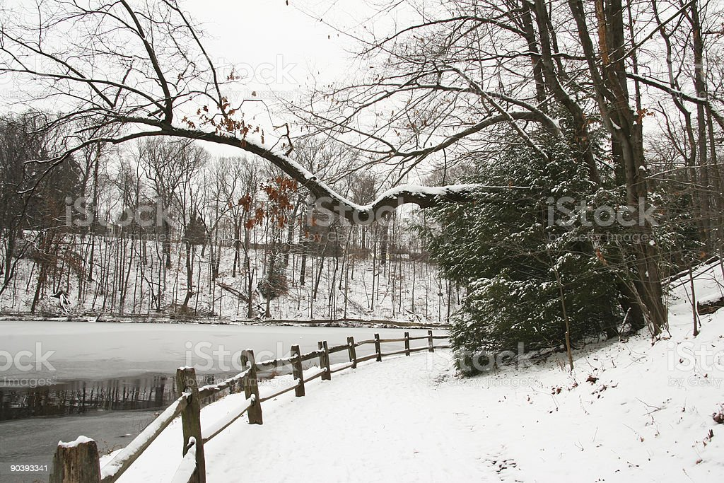 Winter Path By The Lake - Youngstown, Ohio stock photo
