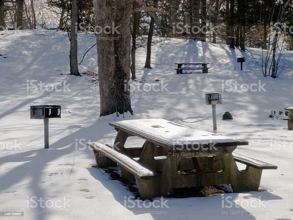 Winter Picnic Area stock photo