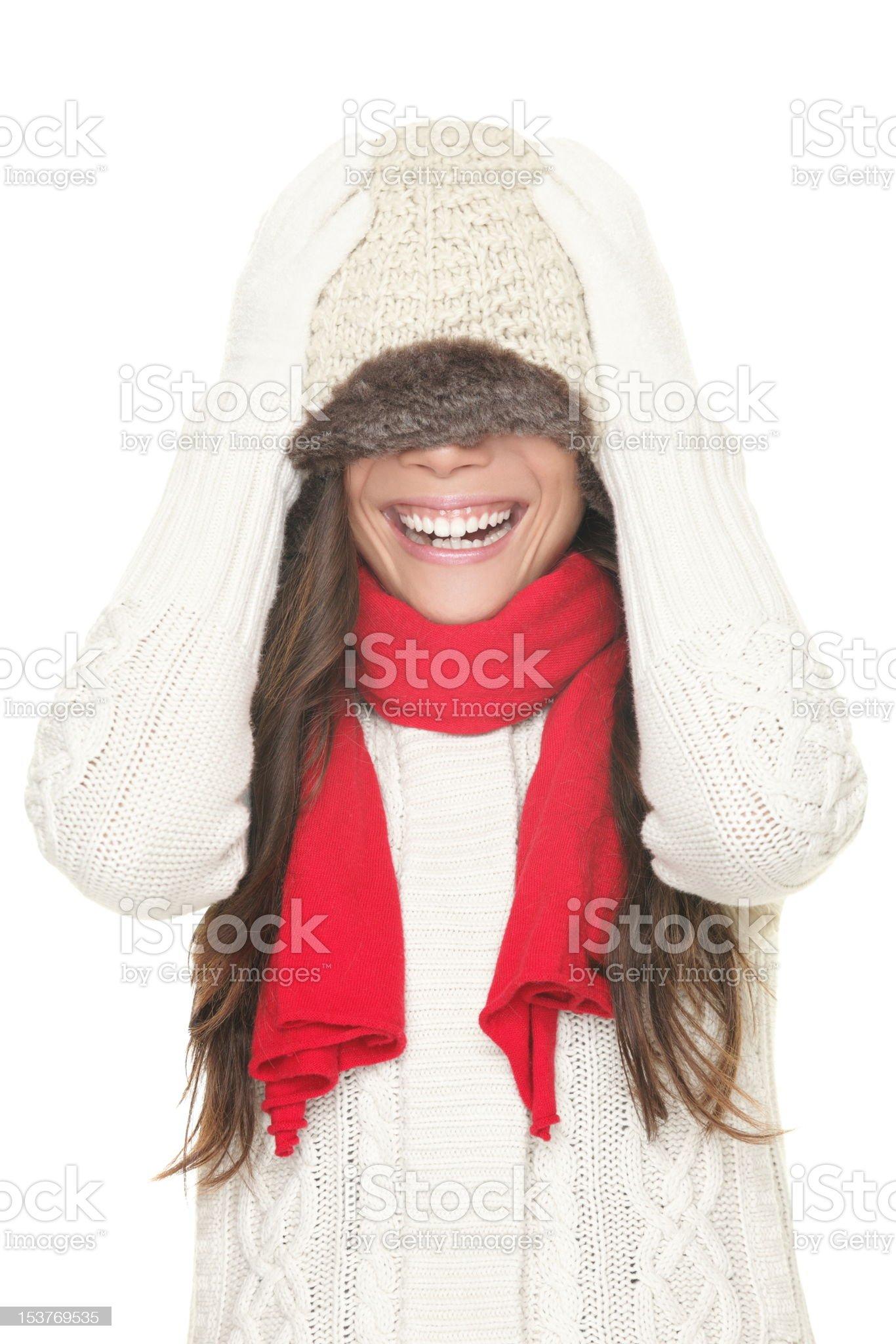 Winter playful woman royalty-free stock photo