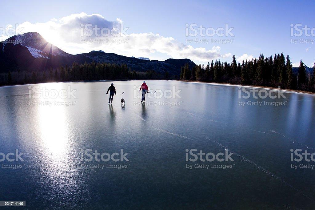 Winter Pond Ice Skate stock photo