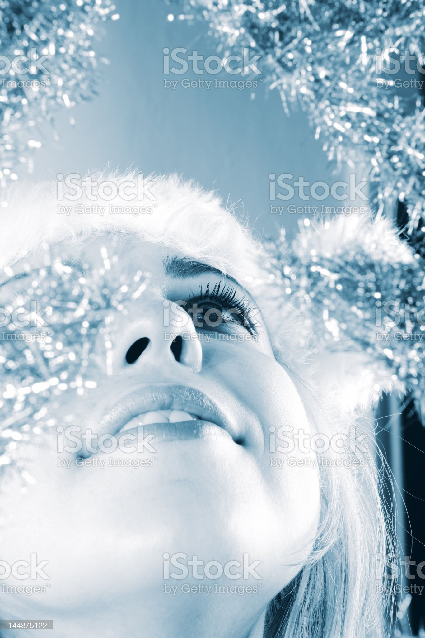 winter portrait of a beautiful young woman in blue tones royalty-free stock photo