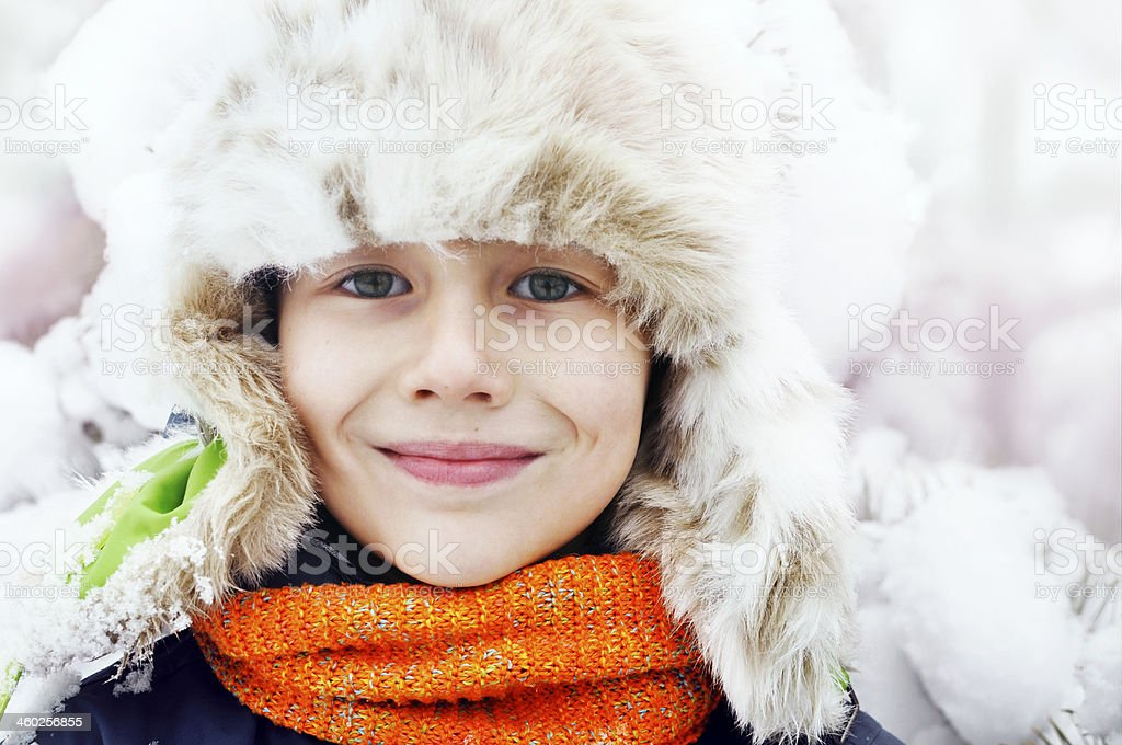 Winter portrait of a boy stock photo