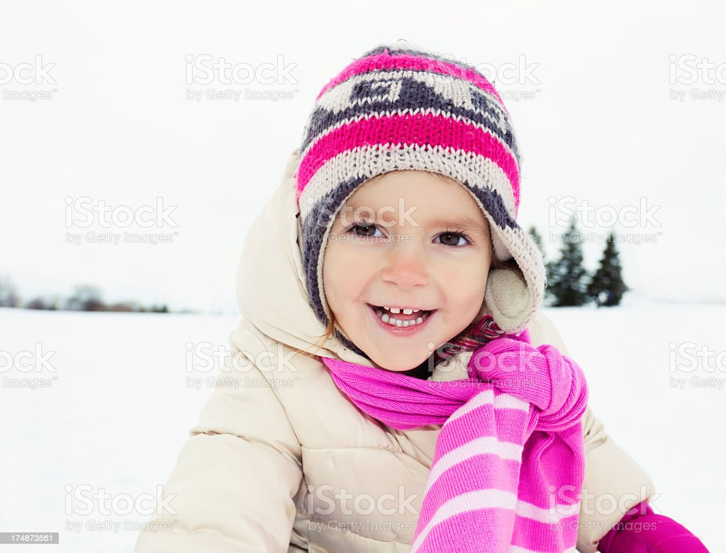 Winter portrait of a happy girl royalty-free stock photo