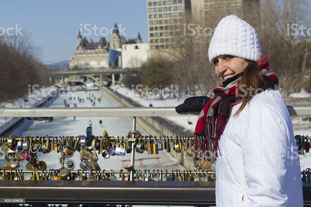 Winter portrait of a woman at the Ottawa Rideau Canal stock photo