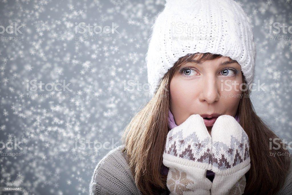 Winter Portrait of beautiful girl royalty-free stock photo