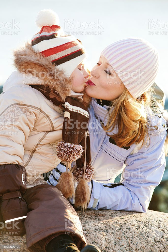 Winter portrait of family royalty-free stock photo