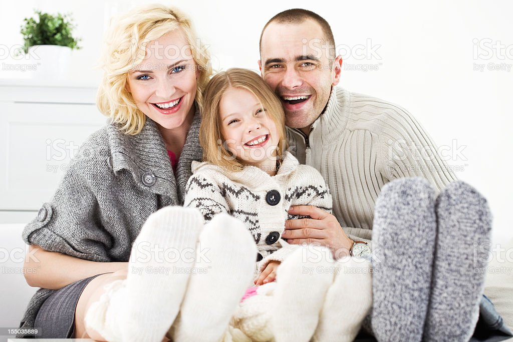 Winter portrait of happy family royalty-free stock photo