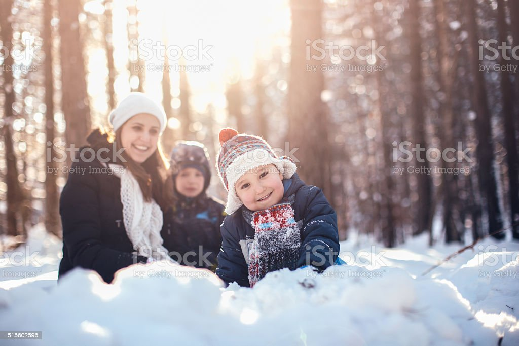 Winter portrait of mother and two sons stock photo