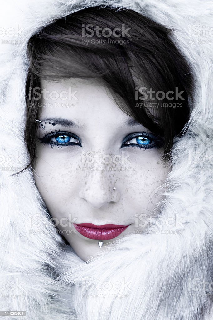 Winter portrait with fur royalty-free stock photo