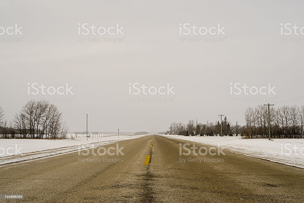 Winter Prairie Highway stock photo