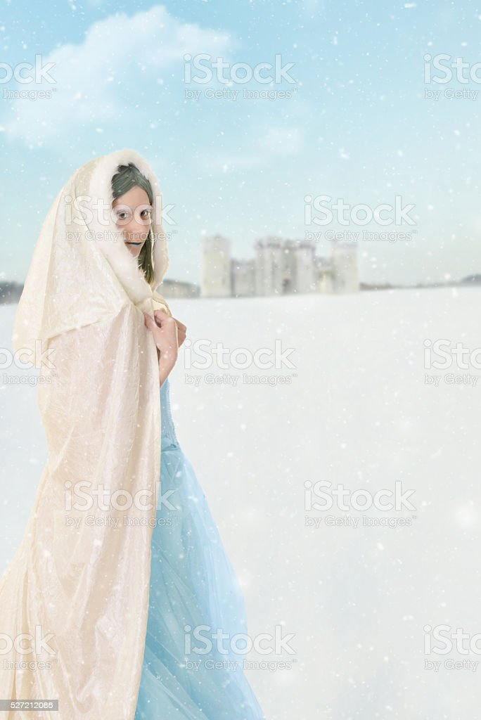 winter princess in the snow stock photo