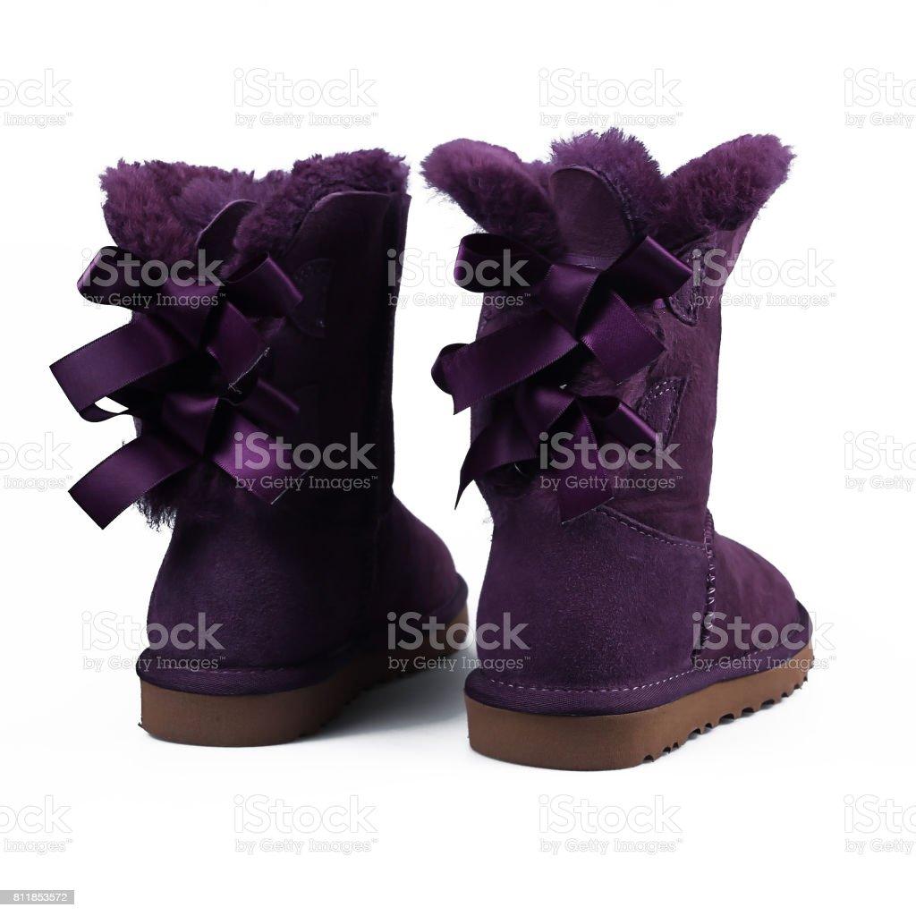 winter purple shoes stock photo