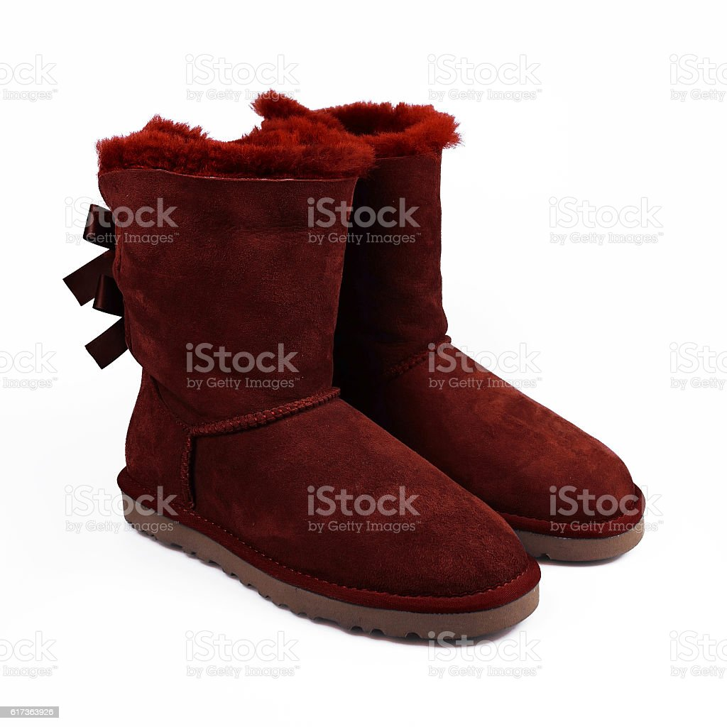 winter red shoes stock photo