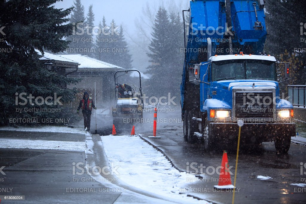 Winter Residential Road Work stock photo