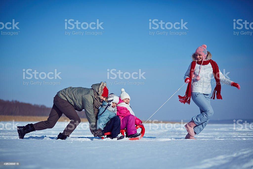 Winter ride stock photo