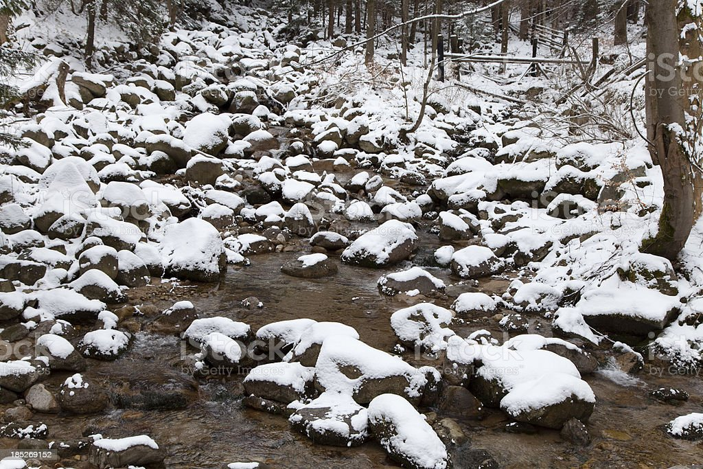Winter, river in mountains royalty-free stock photo