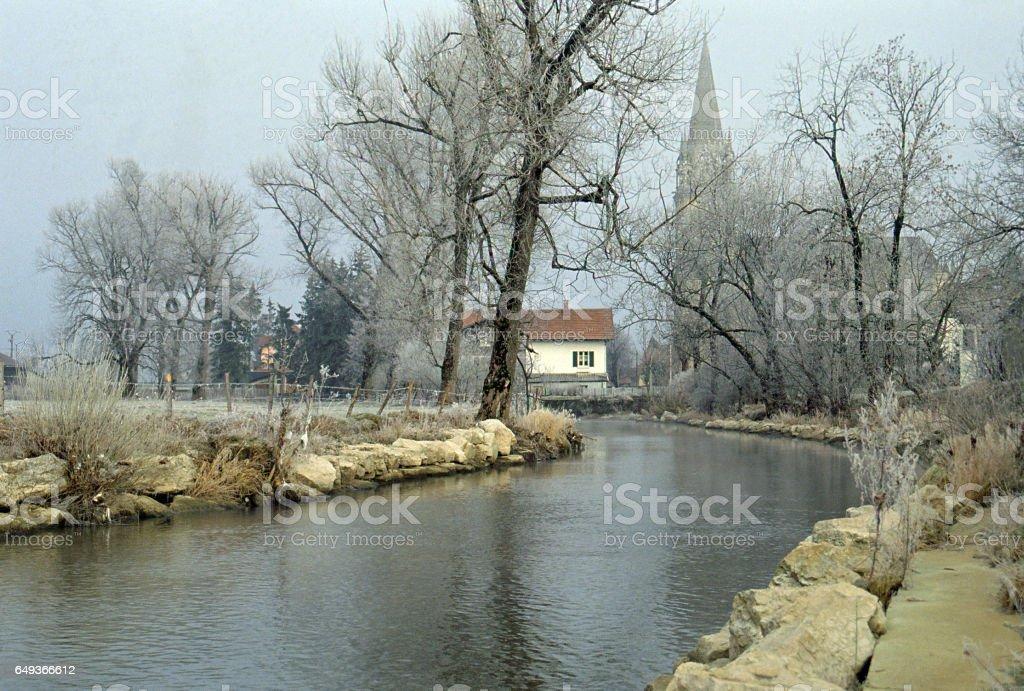 Winter river near Pontarlier, Doubs, France stock photo