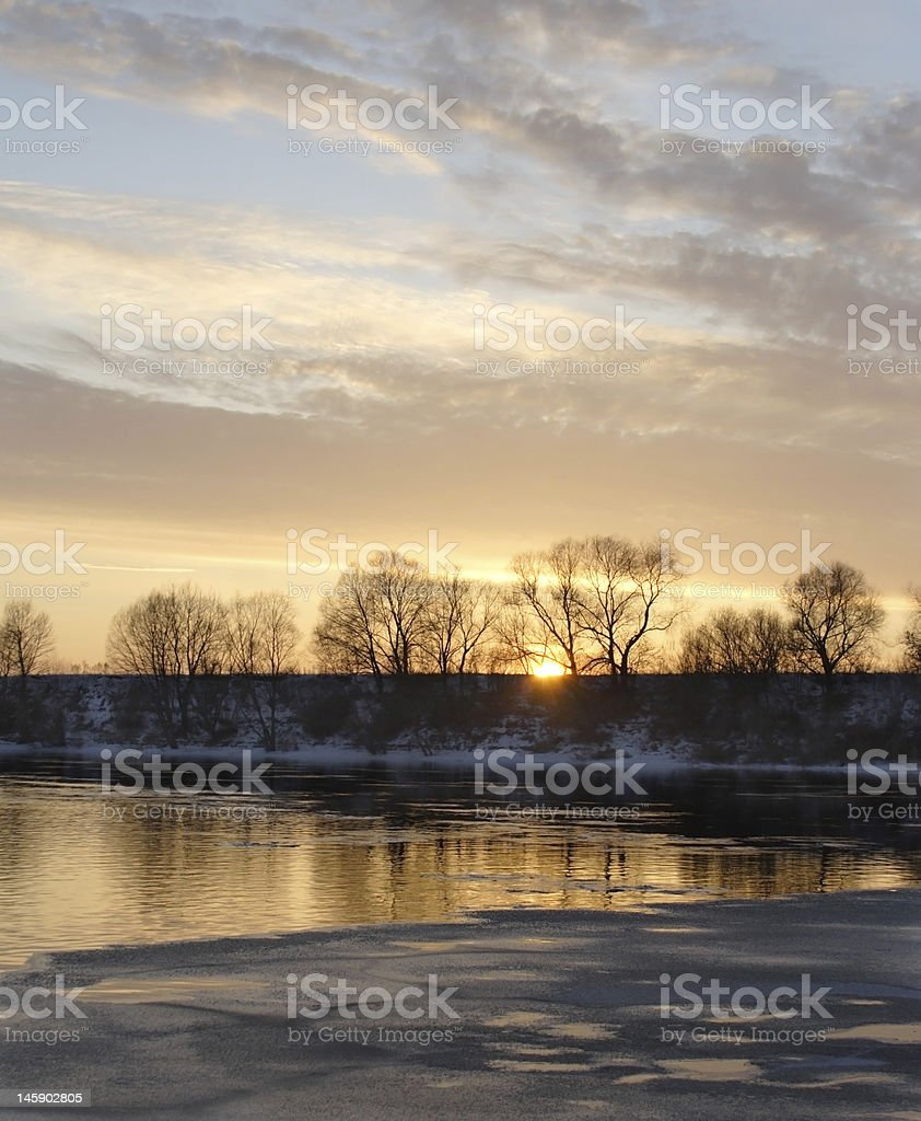 Winter river sunset royalty-free stock photo