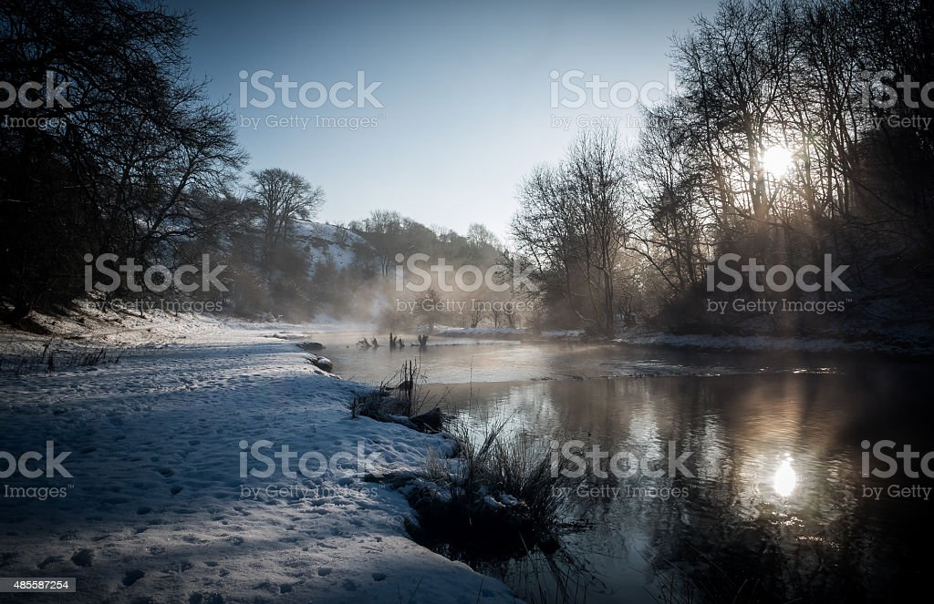 Winter river view stock photo