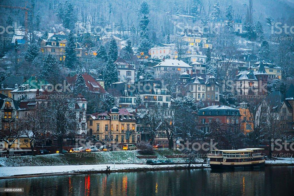 Winter Riverbank in Heidelberg stock photo