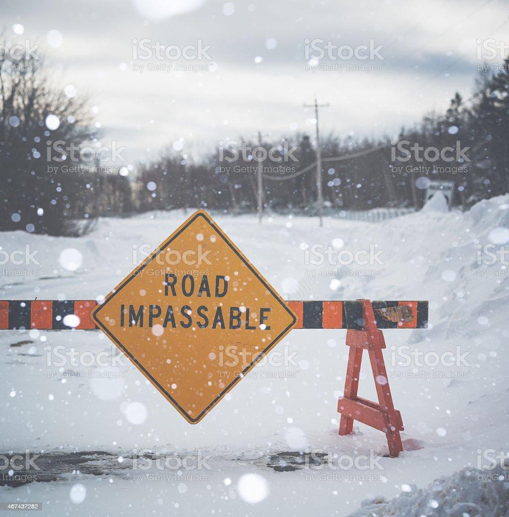 Winter Road Block stock photo