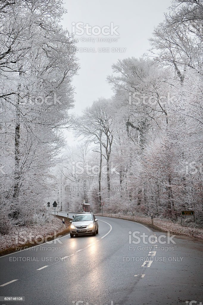 Winter road conditions, Koenigstein, Taunus - Germany stock photo