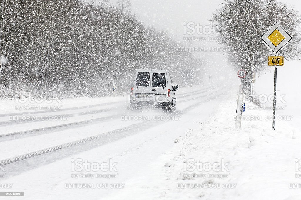 Winter road conditions royalty-free stock photo
