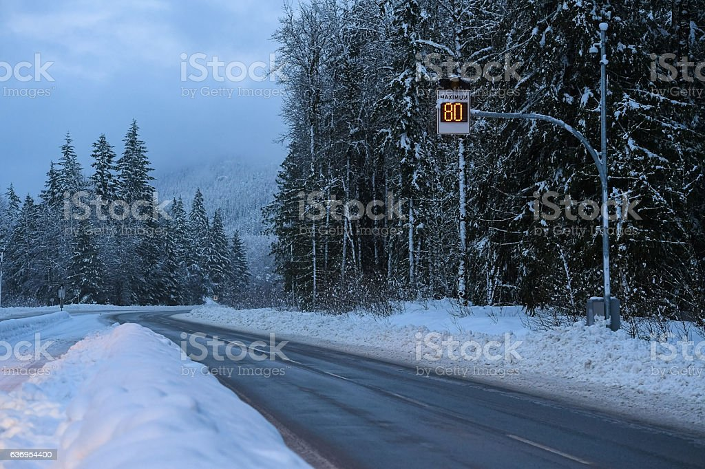 Winter road conditions stock photo