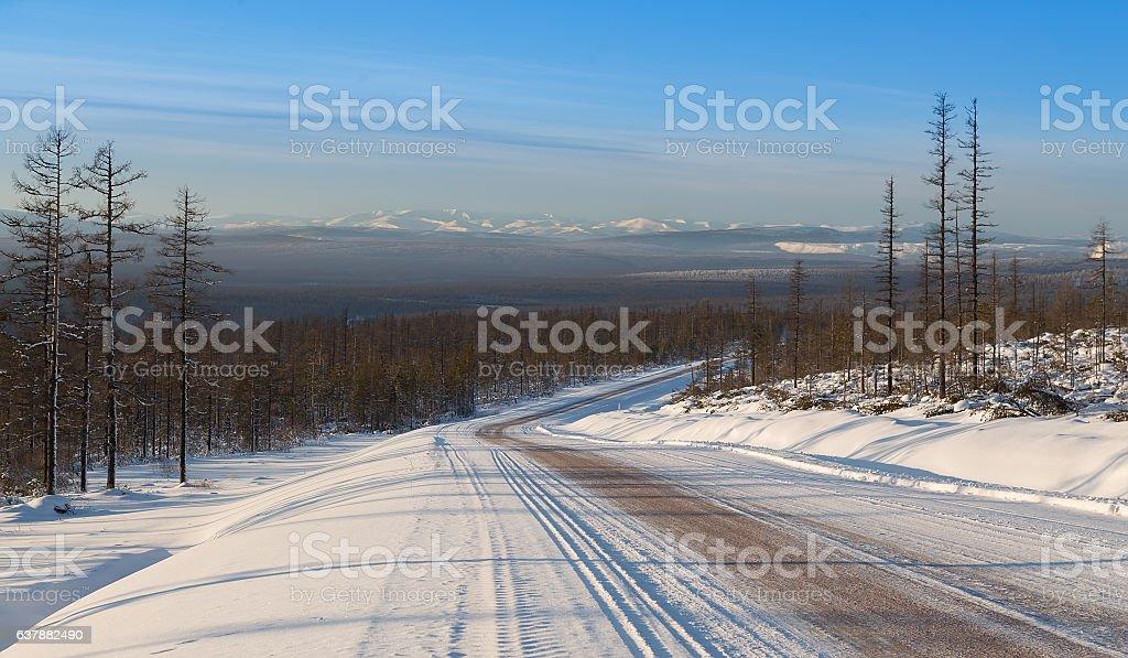 winter road in South Yakutia stock photo