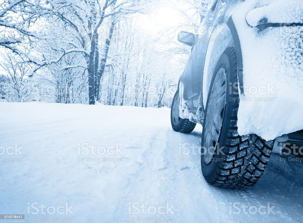 winter road in the morning stock photo