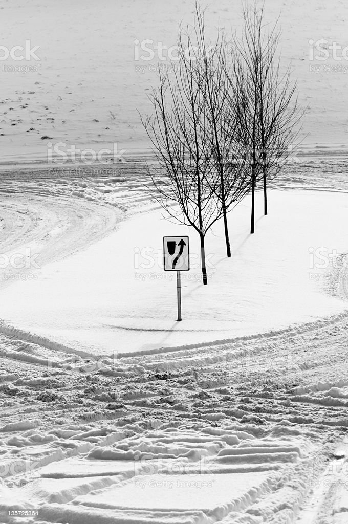 Winter road in the neighbourhood stock photo