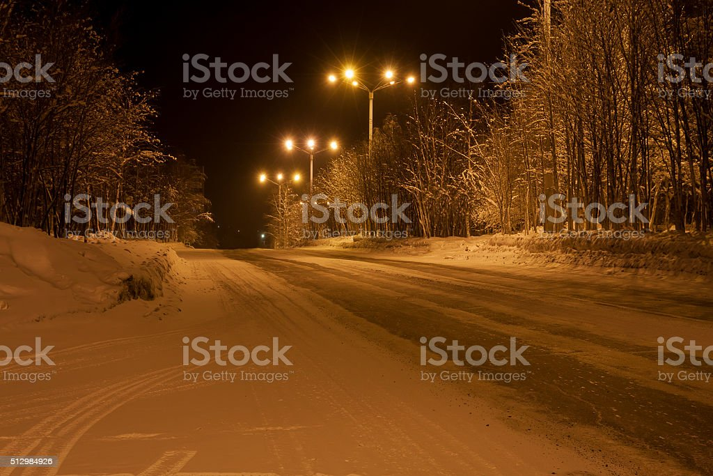 Winter road in the town of Apatity, Murmansk region stock photo
