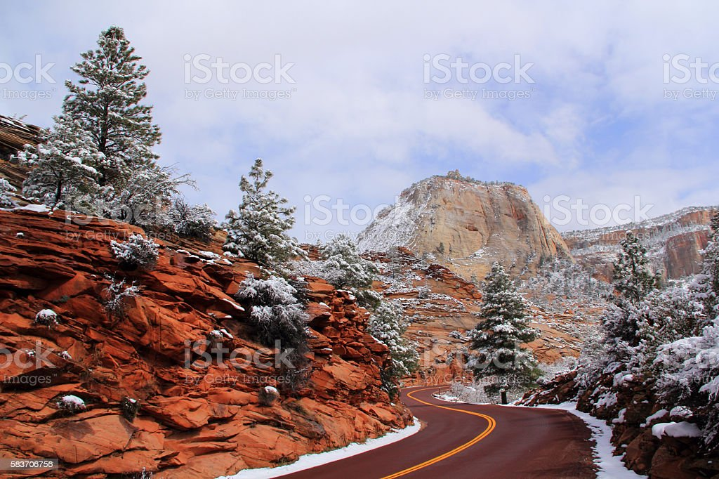 Winter Road stock photo